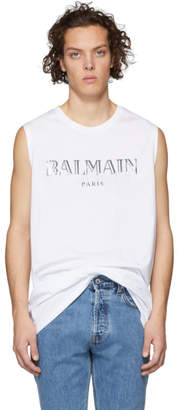 Balmain White Logo Muscle T-Shirt