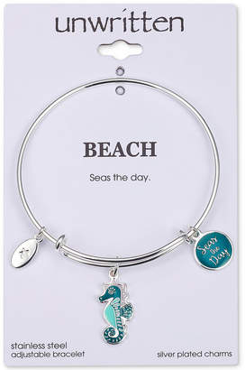 "Unwritten Seas the Day"" Seahorse Charm Adjustable Bangle Bracelet in Stainless Steel"