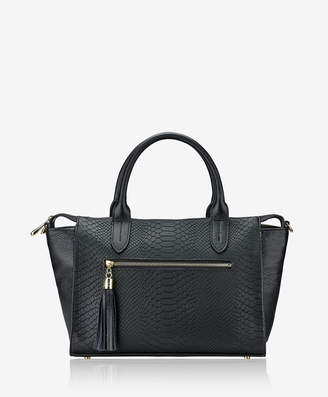 GiGi New York Grace Satchel, Black Embossed Python