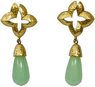 One Kings Lane Vintage Givenchy Faux-Jade Drop Earrings - Wisteria Antiques Etca