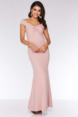 Quiz Blush Pink Bardot Knot Front Maxi Dress