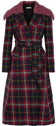 Miu Miu - Faux Shearling-trimmed Tartan Wool-tweed Coat - Navy
