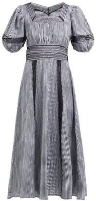 Shrimps Lace Insert Gingham Cotton Dress - Womens - Black White