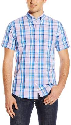 Izod Men's Short Sleeve Seaport Poplin Large Plaid Shirt