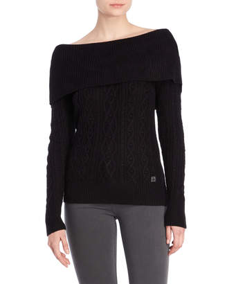 Tommy Hilfiger Off-the-Shoulder Cable Knit Sweater