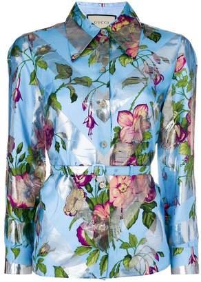 Gucci floral belted waist shirt