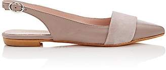 Barneys New York WOMEN'S LEATHER & SUEDE SLINGBACK FLATS - BEIGE/TAN SIZE 6