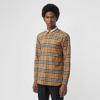 Burberry Knit Collar Vintage Check Cotton Shirt