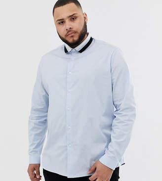Asos Design DESIGN Plus shirt in light blue with rib detail