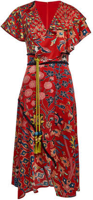 Peter Pilotto Printed Silk Dress with Tassel Belt