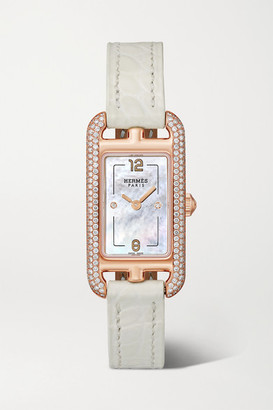 Mother of Pearl Hermès Timepieces - Nantucket 17mm Very Small 18-karat Rose-gold, Alligator, Mother-of-pearl And Diamond Watch - Rose gold