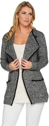 Logo By Lori Goldstein LOGO by Lori Goldstein Open Front Sweater Coat w/ Suede Binding