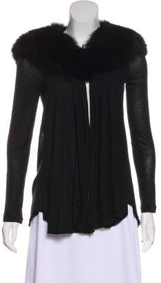 Alice + Olivia Fur-Trimmed Long Sleeve Cardigan