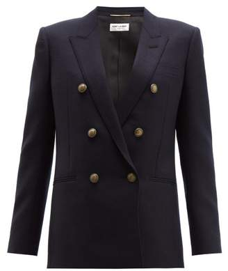 Saint Laurent Double Breasted Wool Blazer - Womens - Dark Navy