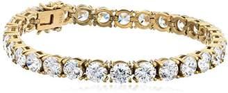 Swarovski Women's Yellow Gold Plated Sterling Silver Zirconia Round Shape Tennis Bracelet