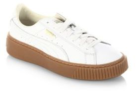 PUMA Basket Leather Lace-Up Sneakers $100 thestylecure.com