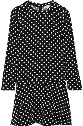 MICHAEL Michael Kors - Evelyn Polka-dot Jersey Mini Dress - Black $155 thestylecure.com