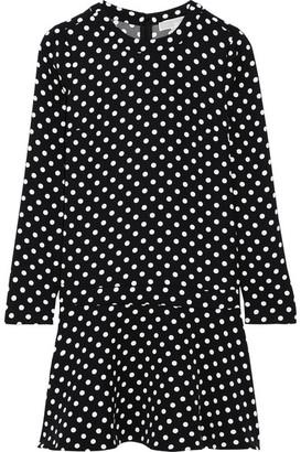 MICHAEL Michael Kors - Evelyn Polka-dot Jersey Mini Dress - Black $155 thestylecure.com