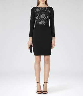 Reiss Libby Lace-Front Dress