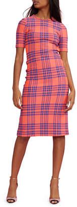 Cynthia Rowley Harper Stretch Plaid Short-Sleeve Dress