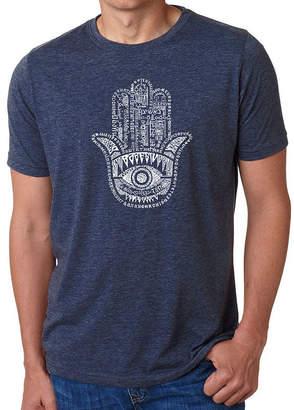 LOS ANGELES POP ART Los Angeles Pop Art Men's Big & Tall Premium Blend Word Art T-Shirt - Hamsa