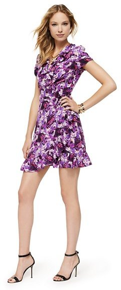 Glam Rock Silk Rose Print Wrap Dress