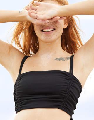 Aerie Ruched Ribbed Longline Bandeau Bikini Top