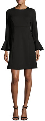 Trina Turk Bell-Sleeve Ponte Cocktail Dress, Black $298 thestylecure.com