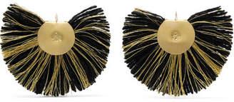 Katerina Makriyianni - Fan Fringed Gold-tone Earrings - Black