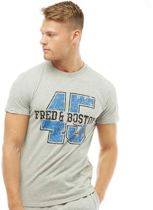 Fred & Boston Mens Chest Print T-Shirt Grey Marl