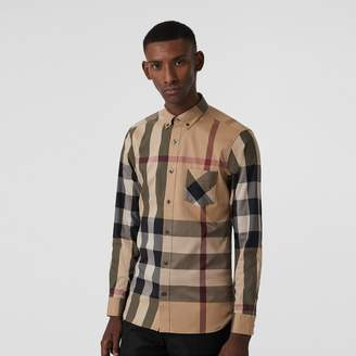 Burberry Button-down Collar Check Stretch Cotton Blend Shirt