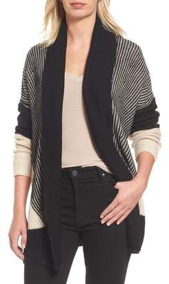 Caslon Colorblocked Ribbed Cardigan