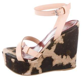 Giambattista Valli Leather-Accented Printed Wedges