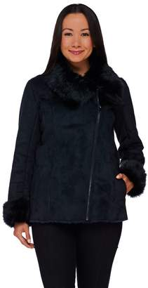Dennis Basso Faux Shearling Jacket with Faux Fur Collar & Cuffs