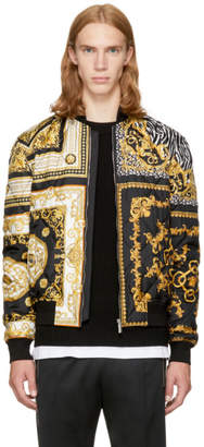 Versace Black and Gold Medusa Bomber Jacket