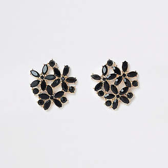 River Island Black gold tone jewel cluster clip on earring