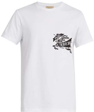 Burberry Logo Printed Cotton T Shirt - Mens - White
