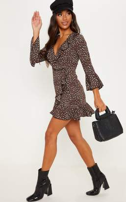 PrettyLittleThing Chocolate Brown Polka Dot Leopard Print Frill Wrap Tea Dress