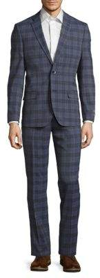 Ben Sherman Modern Fit Plaid Wool-Blend Suit