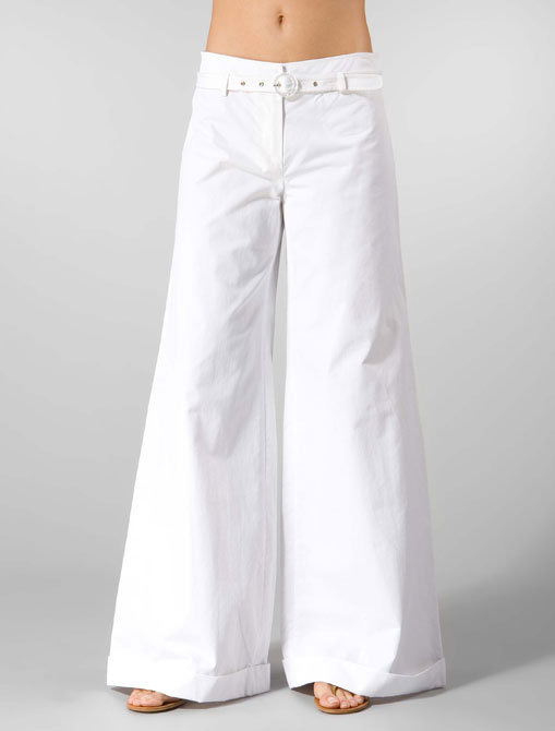 Tracy Reese Matte Satin Palazzo Pants in White