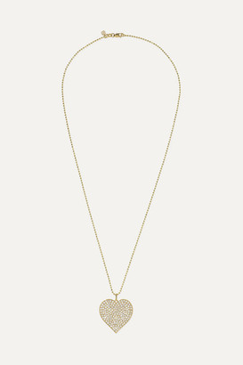 Sydney Evan Supersize Heart 14-karat Gold Diamond Necklace