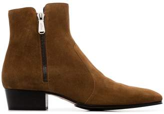 Balmain brown side zip suede ankle boots