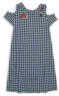 Design History Girl's Gingham Cold-Shoulder Patch Dress