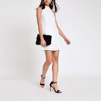 River Island White sequin sleeveless swing dress