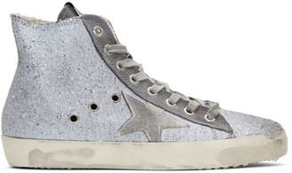 Golden Goose Grey Glitter Francy High-Top Sneakers $495 thestylecure.com