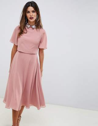 Asos DESIGN midi dress with crop top and embellished collar