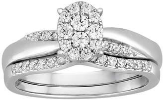MODERN BRIDE I Said Yes 3/8 CT. T.W. Diamond Oval Platinaire Bridal Ring Set