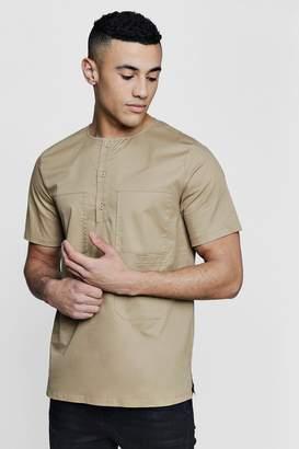 boohoo Four Pocket Short Sleeve Utility Shirt
