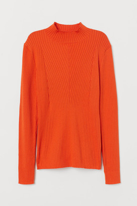 H&M Ribbed Mock-turtleneck Sweater - Orange