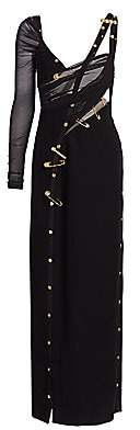 Versace Men's Safety Pin Asymmetric Cutout Crepe Gown